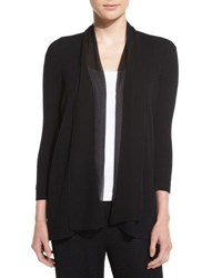 Joan Vass Chiffon Trim 3 4 Sleeve Cardigan Black