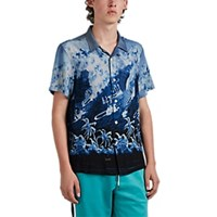 Ovadia And Sons Big Wave Motif Camp Shirt Blue