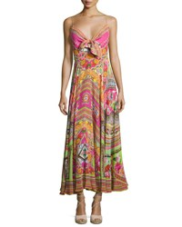 Camilla Embellished Tie Front A Line Maxi Dress Hani Honey Multi