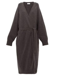 Raey Long Line Belted Cashmere Grandad Cardigan Charcoal