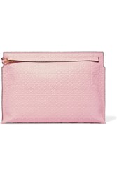 Loewe T Embossed Leather Clutch Pink