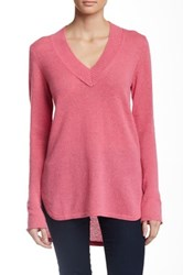 Cullen Hi Lo Wide V Neck Cashmere Sweater Pink