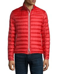 Moncler Daniel Quilted Puffer Jacket Red Black Banker