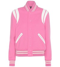 Saint Laurent Classic Teddy Wool Blend Jacket Pink