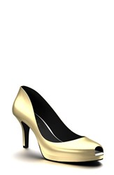 Women's Shoes Of Prey Peep Toe Platform Pump Shiny Gold
