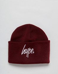 Hype Script Beanie Hat Burgundy Red