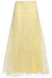Red Valentino Redvalentino Woman Flared Lace Maxi Skirt Pastel Yellow