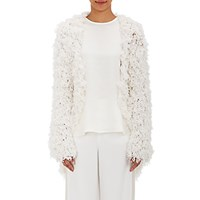 Ryan Roche Women's Shaggy Open Front Cardigan White