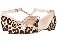 Kate Spade Becca Blush Brown Leopard Haircalf Pale Pink Nappa Women's Shoes Animal Print