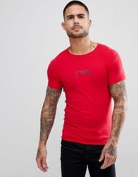 Emporio Armani Muscle Fit Chest Logo T Shirt In Red
