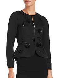 Oscar De La Renta Flared Hem Patterned Jacket Black