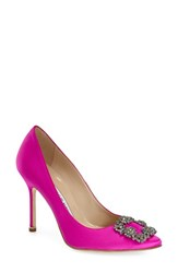 Manolo Blahnik Women's 'Hangisi' Jewel Pump Hot Pink Satin