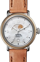 Shinola The Runwell Moon Phase Leather Strap Watch 38Mm Bourbon White Mop Gold