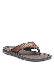 Kenneth Cole Reaction Pitch Four Woven Faux Leather Thong Sandals Brown