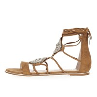 River Island Womens Brown Embellished Gladiator Sandals