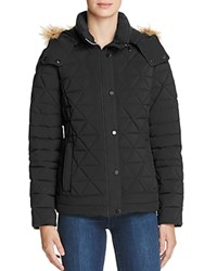 Marc New York Tess Faux Fur Trim Pyramid Down Coat Black