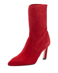 Stuart Weitzman Rapture 75Mm Suede Sock Bootie Crimson
