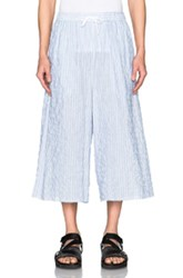 Baja East Cotton Stripe Cropped Wide Leg Pants In Blue