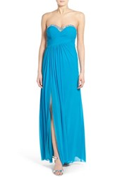 Women's Jump Apparel 'Darla' Embellished Strapless Gown Turquoise