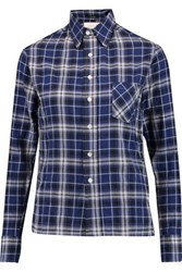 R 13 R13 Pin Embellished Checked Cotton Blend Shirt Blue
