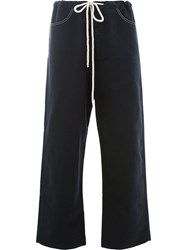 Sara Lanzi Drawstring Straight Trousers Blue