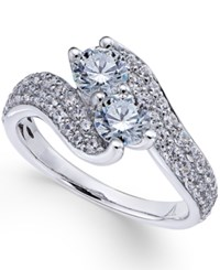 Macy's Diamond Double Stone Engagement Ring 1 1 2 Ct. T.W. In 14K White Gold