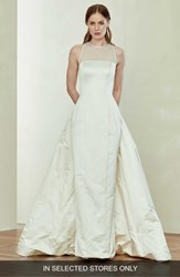 Amsale Silk Pencil Gown With Bustle Champagne