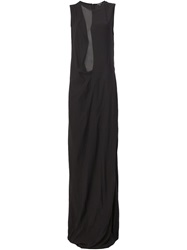 Ann Demeulemeester Sheer Panel Evening Gown Black