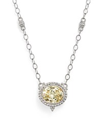 Judith Ripka Sterling Silver La Petite Oval Canary Crystal Pendant Necklace 17 Yellow Silver