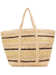 Vanessa Bruno Striped Woven Tote Neutrals