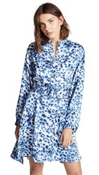 Koche Belted Shirt Dress Blue Leopard