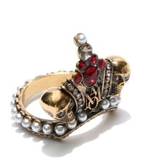 Alexander Mcqueen Twin Skulls And Crown Ring Female Silver