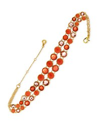 Anne Klein Cubic Zirconia Goldtone And Epoxy Stone Choker Necklace Coral