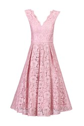 Jolie Moi Scalloped V Neck Lace Prom Dress Pink