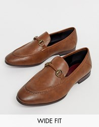 River Island Wide Fit Loafers In Brown