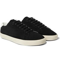 Saint Laurent Sl 06 Court Classic Leather Trimmed Suede Sneakers Black