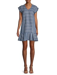 Saks Fifth Avenue Striped V Neck Dress Blue Stripe