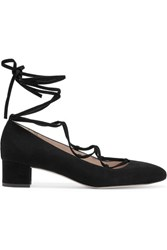 J.Crew Evelyn Lace Up Suede Pumps Black