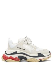 Balenciaga Triple S Leather And Mesh Trainers White