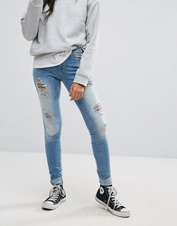 Only Ultimate Destroyed Skinny Jeans Light Blue Denim
