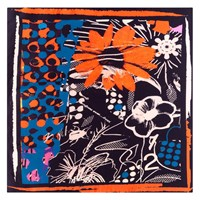Bianca Elgar Orange Flowers Medium Square Scarf Black White Blue