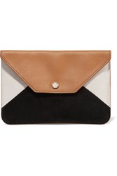 Maje Paneled Textured Leather And Suede Clutch Camel
