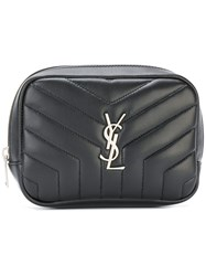 Saint Laurent Zipped Monogram Cosmetic Bag Black