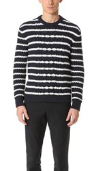 Club Monaco Striped Cable Crew Sweater Navy White