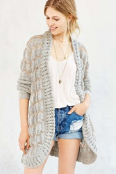 Unif Striped Open Front Cardigan Grey Multi