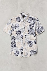 Cpo Maze Print Short Sleeve Button Down Shirt White