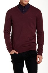 Ben Sherman V Neck Knit Pullover Red