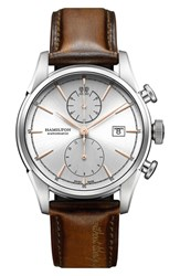 Hamilton American Classic Automatic Chronograph Leather Strap Watch 42Mm