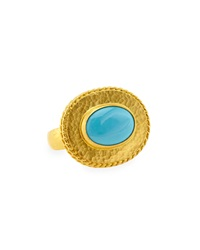 Gurhan 24K Gold Oval Turquoise Ring Size 6.5