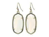 Kendra Scott Dani Earrings Antique Brass White Banded Agate Earring Gold